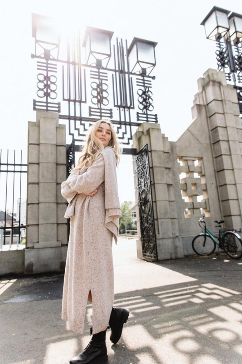 Camilla Pihl Evelyn Knit Dress Sand Tweed Melange